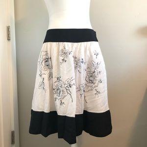 BCBGMaxAzria Floral Print Skirt Black & White